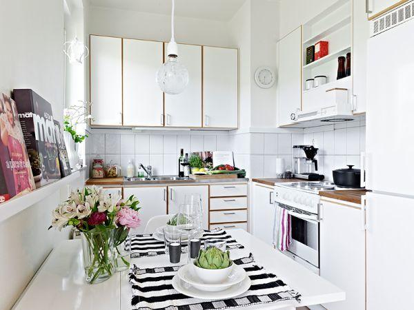 Кухня в сутдии в скандинавском стиле