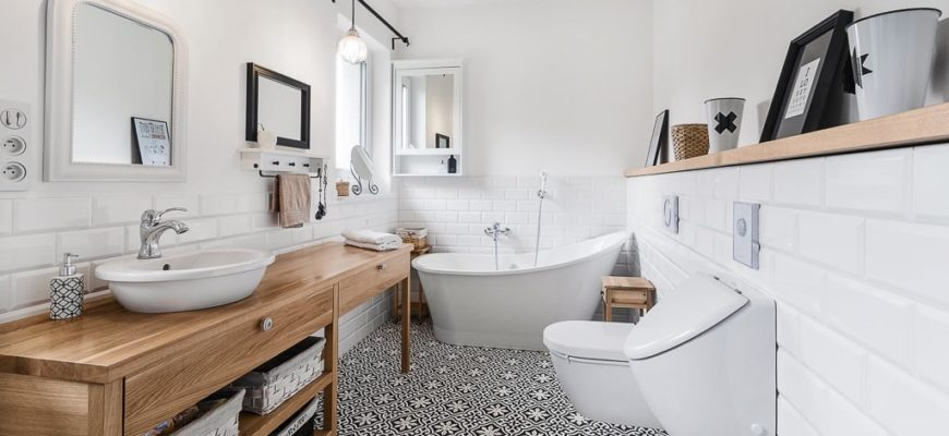 Ванная в скандинавском стиле — основные атрибуты (часть 2) Плитка под дерево, геометрические узоры