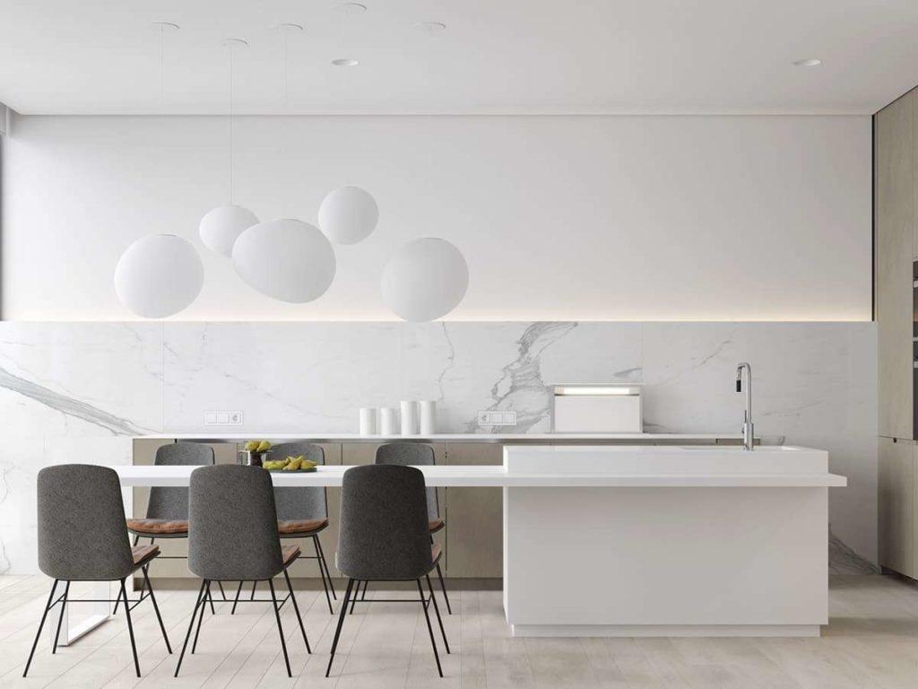 Минималистичный интерьер кухни-гостиной