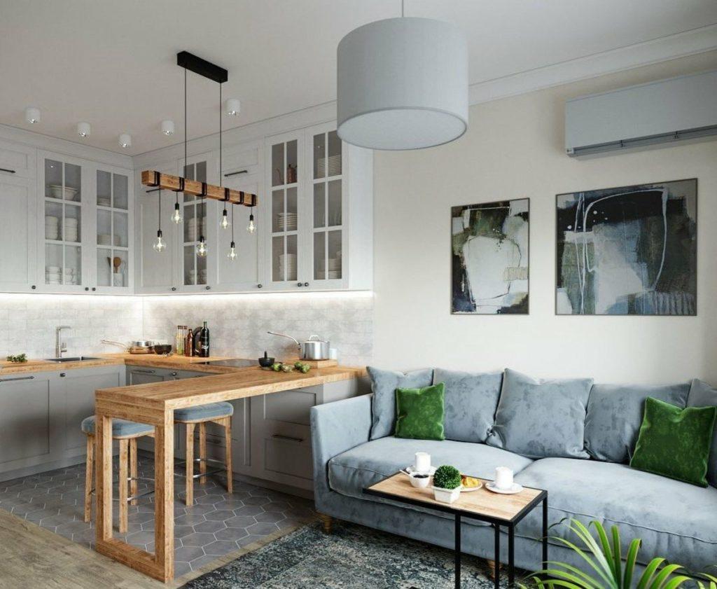 Компактный интерьер кухни-гостиной в скандинавском стиле