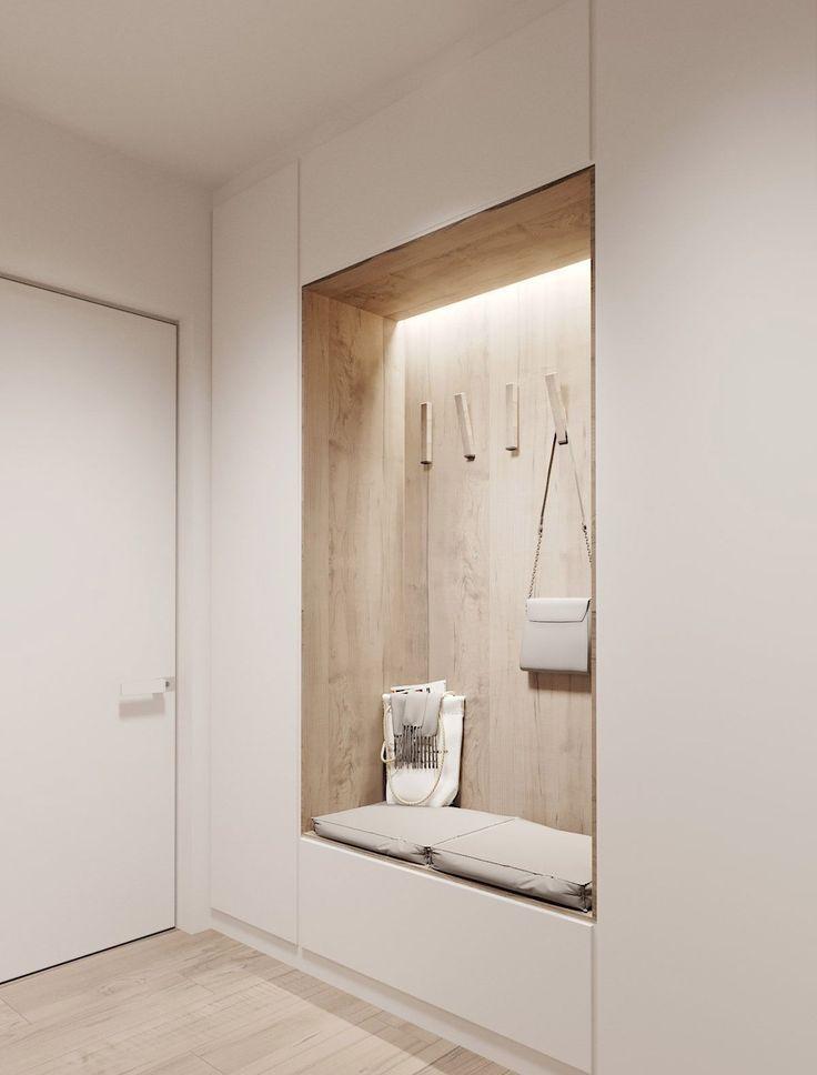 Минималистичный шкаф в прихожей в скандинавском стиле