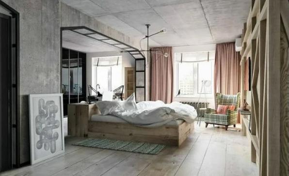 Идеальное сочетание бетона, дерева и зеркал
