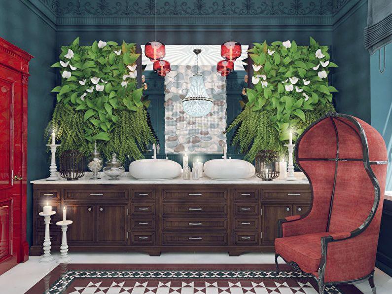 Кресло, лампочки и дверь — единственные яркие предметы в ванной