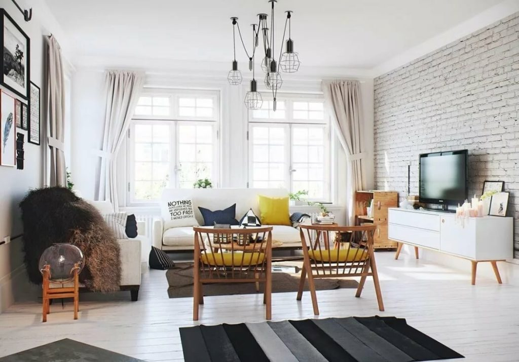 Оформление гостиной в скандинавском стиле